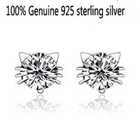 Wholesale Genuine 925 sterling silver crystal fashion earrings hello kitty wedding jewelry for women 6F720