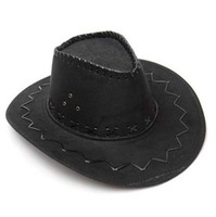 Cowboy Cowgirl Hat Suede Nap Fabric For Costume, Fancy Dress Party New Black
