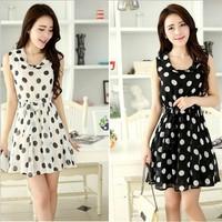 Summer 2014 new Chiffon Dress Korean wave sleeveless vest slim lace dress WO737