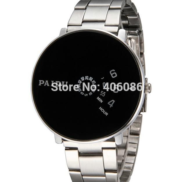 500pcs/lot Free shipping Brand New Fashion Quartz Wrist Watch Mens Gift Turntable Dial Clock Hours Silver Black watch(China (Mainland))