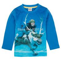 New 2014 High Quality Cotton Children Frozen T-shirts For Boys Cartoon Kids T-shirts Boy Frozen Long Sleeve Tees Tops CN-1407256