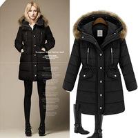 M618 XXXL Plus Size 2014 Winter New Fashion European Racoon Fur Collar Thicken Heavy Keep Warm Cotton Parkas Coats for Women