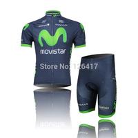 2013 movistar  team Cycling Jersey/Cycling clothing Bike Wear shirt+Bib Shorts Set men breathable quick dry summer