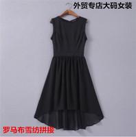 Free shipping Big size skirts match chiffon sleeveless one-piece dress fashion sexy elegant fresh