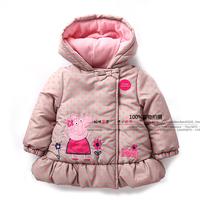 new 2014 autumn winter children outerwear baby clothing kids jackets coats all-match Lovely dot pig girls outerwear child parka