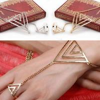 2014 New Superb Fashion Women Triangle Hand Bracelet Finger Bangle Slave Chain Free Shipping&Wholesale Alipower
