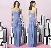 Brief  Chiffon Bridesmaid Dresses 2014 Sweetheart Pleat Zipper Floor Length Women Formal Dresses