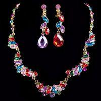 free shipping  luxury bridal jewelry set  chromatic   rhinestone  wedding jewelry set  whole sale price new arrive
