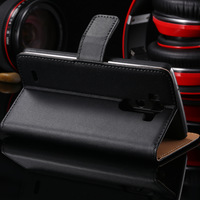 10pcs/lot HK Post, Retro Wallet Stand Genuine Leather Case For LG Optimus G3 D850 D855 Flip Phone Cover Bags Black RCD04230