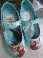 New Hotsale Frozen Shoes Elsa Anna Princess Big Size 31-35 Little Girl Frozen Shoes to Match Frozen Dresses 2 Colors Blue Purple