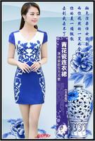 S-XXXL women summer dress New Hot Fashion summer dress 2014 cozy elegant blue porcelain plus size chiffon dress tie dye print WA