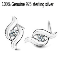 Wholesale Genuine 925 sterling silver crystal fashion earrings wedding jewelry for women 9S141