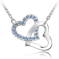 Czech heart necklace female silver jewelry crystal accessories pendant short design  fashion chain