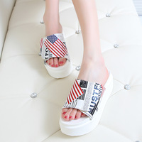 Free shipping 2014 women's shoes platform slippers platform shoes velcro letter doodle colored drawing