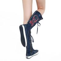 Fashion popular 2014 water wash denim material canvas boots zipper women's shoes punk street Flat canvas knee high sneakers