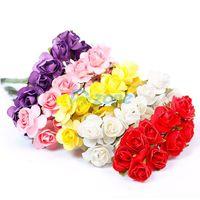 Beautiful 144Pcs/lot Mini Artificial Paper Rose Flower Wedding Card DIY Decor Craft#57960
