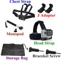 Gopro Accessories High Quality Harness Adjustable Chest Strap Belt + Handheld Monopod + Adjustable Head Strap Mount Adapter