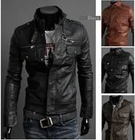 2014 new men's jacket Korean catwalks shall Slim leather jacket PU leather high quality 3 color 4 size hot sale