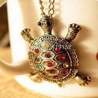 fashion turtle pendant necklace wholesale Vintage Sweater Chain Cute Little Turtle Necklace Jewelry Accessories
