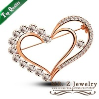 Korean Delicacy Cute Hijab Rhinestone Double Love Heart Brooch Pins Lot Free Shipping