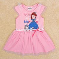 NOVA Kids Sofia princess dress girls ruffles style Lace hem sleeve princess baby dress Free Shipping H5001