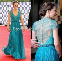 New 2015 Best Selling Custom Made Floor Length Gowns New Design V-neck Colorful Celebrity Dresses Party Evening Elegant Long