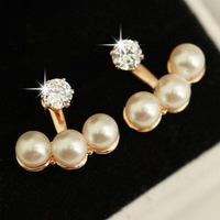 Free shipping New rhinestone pearl bead earrings jewelry High quality Fashion lady wedding party for women Accessories 2014 PD21