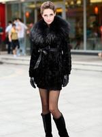 Sales Promotion! 100% Real Genuine Mink Fur With Huge Raccoon Collar Long Coat Jacket Women Clothing Luxury Vintage Warm Winter