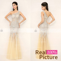 In Stock One Shoulder Crystal Beaded Sexy Prom Gowns 2014 New Arrival Real Sample Women Elegant Prom Mermaid Evening Dresses