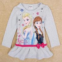 NOVA Kids Frozen small girls long-sleeved shirt bottoming Ruffles Style Bow Decor Free Shipping F5168