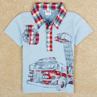 NOVA Kids Boys cotton T-shirt lapel Baby Boys Plaid Style Top Free Shipping C4979Y