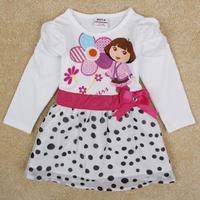 NOVA Kids Dora the Explorer Dot Puff Girls long-sleeved dress Dot style Bow decor princess Dress Free Shipping H5070