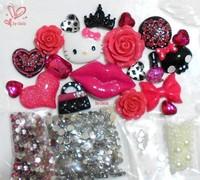 Hot Pink DIY Phone Case Deco Hello Kitty Cabochons Rose Pink Lip Skull Leopard Gems
