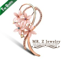 Wholesale Christmas Brooch Colorful Rhinestone Opal Flower Lapel Pin Brooches Free Shipping