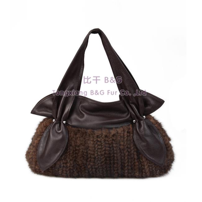 BG30418 2014 New Knitted Mink Fur Bag Women Elegance Genuine Leather Handbags Noble Knitted Mink Fur Bag(China (Mainland))