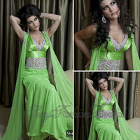 Nisrine Dubai Kaftan V Neck With Beaded Transparent Waist A line Floor length Chiffon Arabia Long Evening Party Dress Elegant