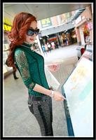 NEW 2014 t shirt fashion cozy cloth elegant tops tee casual shirt patchwork lace diamond collar slim undershirt lace shirt WA