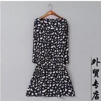Free Shipping Big size skirts women's black heart slim waist one-piece dress fashion slim kolkatan 's o-neck dress