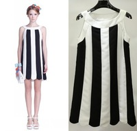 High Quality Women Sweet Color Stripe Splicing Sleeveless Chiffon Dresses