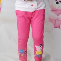 Hot pink Color Baby Girl Peppa Pig Pants Girl Cotton Leggings Children Clothing 1pc Free shipping DDK-1407