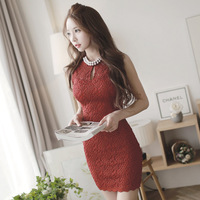 Free Shipping New Vintage Elegant Hollow Out Lace Bodycon Short Dress 2014 Summer Fall Women Club Dresses Black/Beige/Red N58502