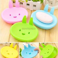 Lovely Creative Cute Cartoon Bunny Rabbit Soap Box Smiley Double Soap Dish  BHW179