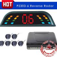 Car LED Parking Sensor Kit 6 Sensors Car Reverse System Radar Detector With LED Digital Display Free Shipping