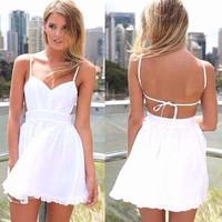 2014 Womens dress Sexy halter dress Women new 2014 summer white Strap Dress Mini casual dress vestidos women clothing