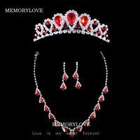 free shipping  luxury ruby bridal  jewelry rhinestone  wedding jewelry set  princess crown jewelry
