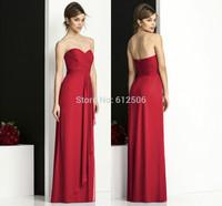 Graceful Red Chiffon Bridesmaid Dresses 2014 Sweetheart Pleat Ribbon Zipper Floor Length Women Formal Dresses