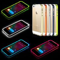 Called Sense LED Flash Light Hard Transparent shine Luminescent lightning glitter Cover For iPhone 5s 5 5G