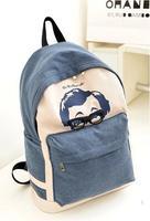 HOT! Denim cute Dr. Glasses Printing Backpack Students School Bag Canvas Bag Travel Bag shoulder bags
