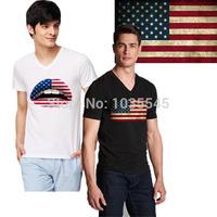 New spring 2014 fashion casual man t -shirts, men's usa american flag t shirt men fitness short-sleeved men's clothing
