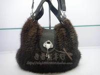 Quality fur bags knitted mink hair handbag cross-body bag dual-use package fur bags